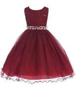 Big Girls' Lace Sequin Top Rhinestone Belt Flowers Girls Dresses Burgund... - $59.40