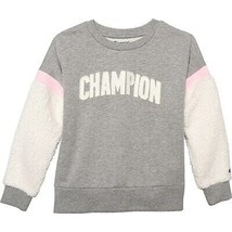 NWT KIDS GIRLS Champion Heritage Sherpa Crew Neck Sweatshirt Gray Pink sz L - $22.27
