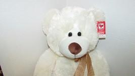 "Ganz Plush large cream stuffed teddy bear brown nose polka dot bow 13-18"" w/ tag image 2"