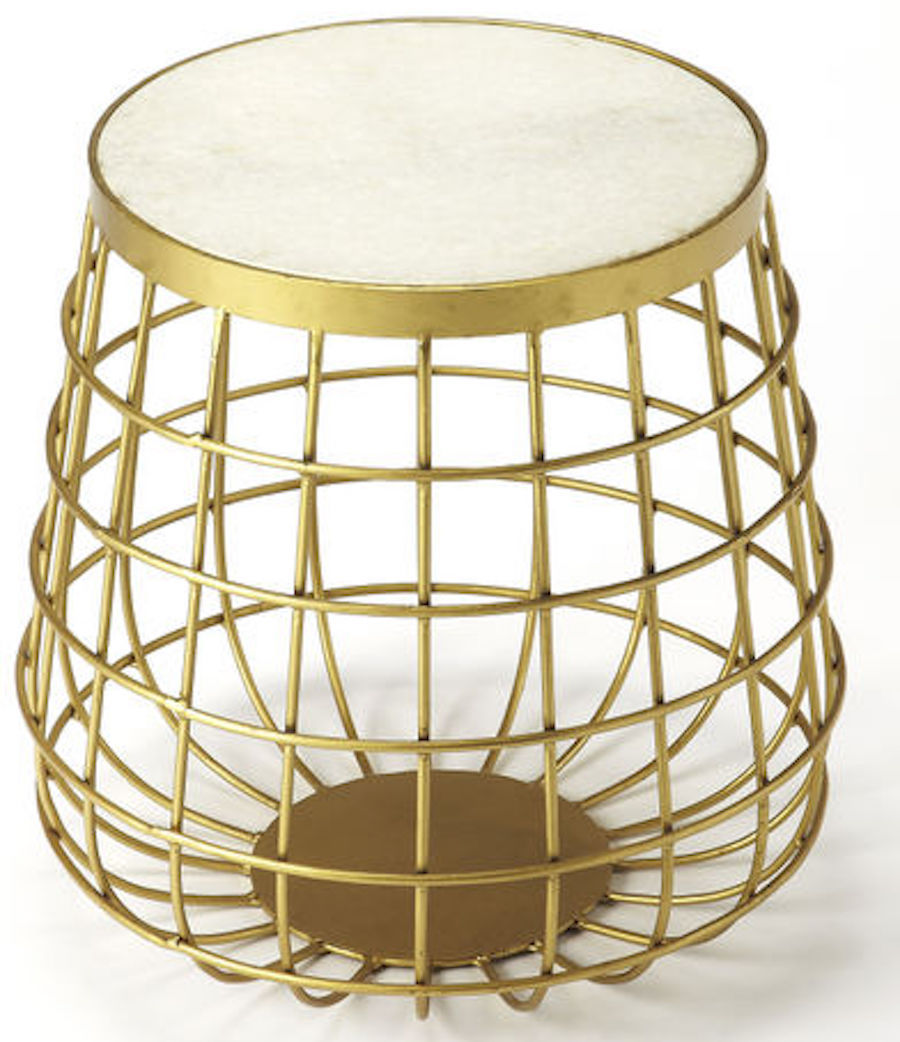 Mid Century Modern Glam Gold Accent Table Luxe Iron & Marble Stone Round New!