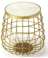 Mid Century Modern Glam Gold Accent Table Luxe Iron & Marble Stone Round... - $280.17