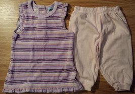 Girl's Sz 3-6 M Months Purple/Pink Velour Striped Old Navy Dress & Pink ... - $10.50
