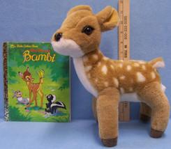Lot of 2 Walt Disney Bambi Story Little Golden Book & Plush Stuffed Deer Toy - $14.10