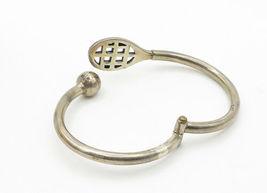 MEXICO 925 Silver - Vintage Tennis Ball & Racket Design Cuff Bracelet - B6218 image 3