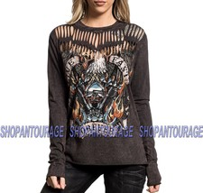 Affliction Live Fast Forever AW19330 New Long Sleeve Women`s Brown Fashi... - $45.95