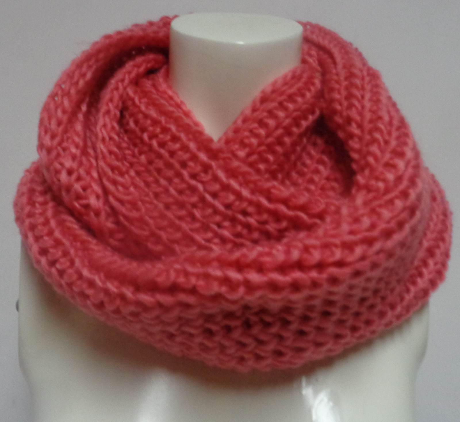 "Winter Scarf Strawberry Pink NWT Women's Sz Adult 27"" Infinity Style Free Ship"
