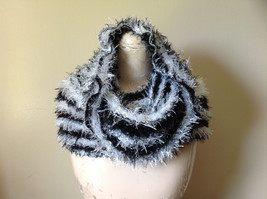 Black White Striped Magic Fuzzy Circle Scarf Can Be Worn Multiple Ways NO TAGS image 2