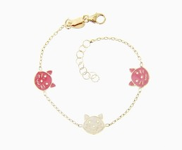 18K YELLOW GOLD BRACELET FOR KIDS WITH CAT KITTEN PUPPY MADE IN ITALY  5... - $256.13