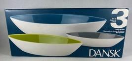 Set Of 3 DANSK The Burbs Canoe Bowls NIP   48 oz Blue 24 oz Green 8 oz Grey  - $34.60