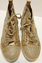 BCBG Generation Womens Gold Metallic Studded Glitter High Top Sneakers 8.5  - $27.45