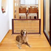 Wooden Adjustable Free Stand Dog Gate Pet Safety Bar Portable Indoor Saf... - $61.53