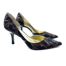 Anne Klein Christa Heels Pumps 8 Leopard Animal Print Fabric Point Toe NEW - $59.99