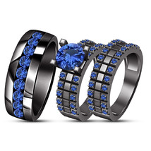 Round Blue Sapphire 14k Black Gold Plated Trio His Her Engagement Trio Ring Set - $165.98
