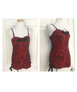 1950s Vtg Lee Playsuit Swimsuit Red Black Paisley Ruched Sweetheart Neck... - $119.95