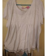 Woman Within Plus Size 4X White Blouse With Lace Trim - $24.31