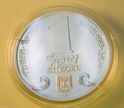 1983 ISRAEL 1 SHEQEL PRAGUE HANUKKA LAMP SILVER 850 COIN  538m - $24.26