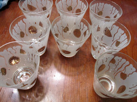 8 1950s-60s Gold and White Juice Glasses - $57.00