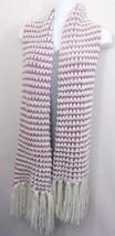 Mauve Pink Cream Knit Scarf Fringe One Size - £6.36 GBP