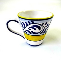 STARBUCKS 2008  DERUTA, ITALY Blue-Yellow Hand Painted 9.5 oz Coffee Cup... - $24.74
