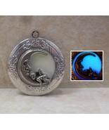 GLOW IN THE DARK Sleeping Cupid Angel Fairy on the Moon Photo Locket Nec... - $17.00