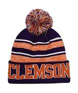 Clemson Men's Blended Stripe Winter Knit Pom Beanie Hat (Orange/Purple) - $13.75