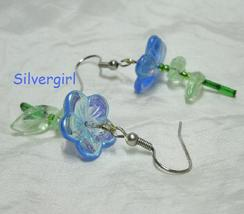 Single Stem Glass Dangle Earrings Blue - $9.99