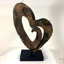 Carved Wood Heart Sculpture w Nails (on black wood stand). Folk Art, Mod... - $44.50