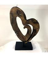 Carved Wood Heart Sculpture w Nails (on black wood stand). Folk Art, Mod... - $44.50