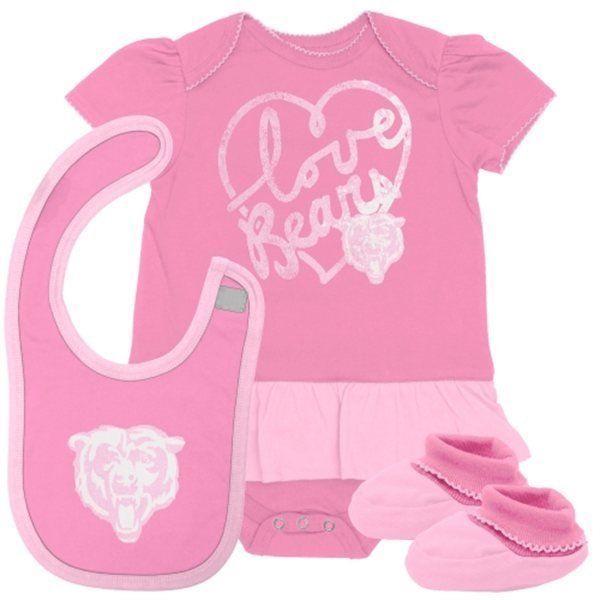 6/9M Infant Girl's Chicago Bears Creeper Set 3-pc Bodysuit Bib Booties Fan-Atic