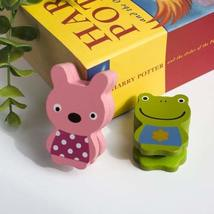 [Frog & Rabbit] - Card Holder / Wooden Clips / Wooden Clamps / Animal Clips - $12.86