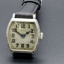 Elgin Wrist Watch 14k White Gold Filled Square Case with Filigree Bezel - $327.24