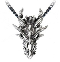 Men's Large Fierce Dragon Skull Pendant Pewter Necklace P625 Alchemy Gothic - $34.95