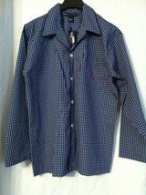 POLO RALPH LAUREN MENS NEW BLUE 100%COTTON PLAIDS PAJAMA SHIRT SIZE: M - $23.97