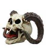 Large Bizarre Demonic Krampus Ram Horned Skull Statue Gothic Figurine Ha... - $42.99