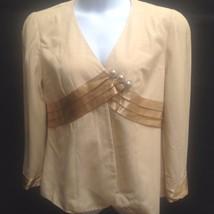 Magali 16 XL Evening Fashion Jacket Camel Beige Gold Trim Pearl Crystal ... - $23.50