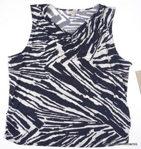 Laura Ashley NEW Printed Stretch Blouse Top XL Blue/White Cowl Neck Tank... - $12.44