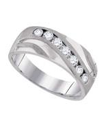 10k White Gold Mens Round Diamond Band Wedding Anniversary Fashion Ring 1/2 Ctw - $850.00