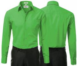 Berlioni Italy Men's Green Premium  Standard Cuff Dress Shirt W/ Defect 2XL image 1