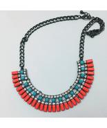 Aqua, Coral and Rhinestone Vintage  Costume Jewelry Necklace - $20.00