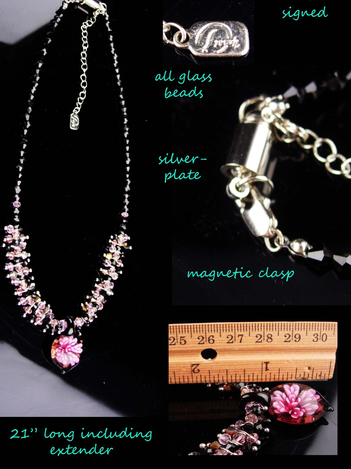 Murano Flower necklace / sweetheart gift / signed necklace / pink black glass /