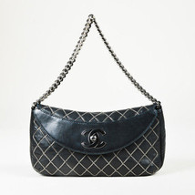 Chanel Black Calfskin Leather Chain Quilted 'CC' Turnlock Flap Bag - $1,305.00