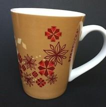 Starbucks Coffee Mug 2013 Large Handle 14 oz Cup Tan with Red Flowers Sn... - $17.45