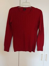 TALBOTS LADIES LS RED CREW-NECK PULLOVER SWEATER-S-COTTON/POLY/WOOL-GENT... - $8.99