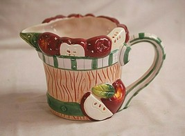 Decorative Pitcher w Red Apples in a Bucket Country Farm Kitchen Tableware - $24.74