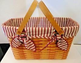 Longaberger Basket rectangular 1998 plastic insert red white striped lining - $39.59
