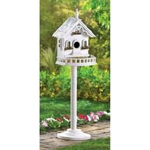Distressed Shabby White FREESTANDING VICTORIAN BIRDHOUSE Bird Nest Feeder - $31.80