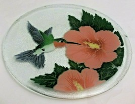 """Peggy Karr Fused Glass Hummingbird Tray 11.5"""" Round Signed - $39.59"""
