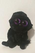 Ty Beanie Boo George the Gorilla / No ear tag/ TySilk / Black with purple eyes - $3.50