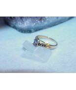 14K .50ct Tanzanite 6 GARNET Solitaire RING Size 8 2.8g Vintage Yellow Gold - $193.04