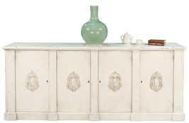 Vintage Style Italian White Crested Sideboard Cabinet Old Solid Pine Woo... - $3,217.50